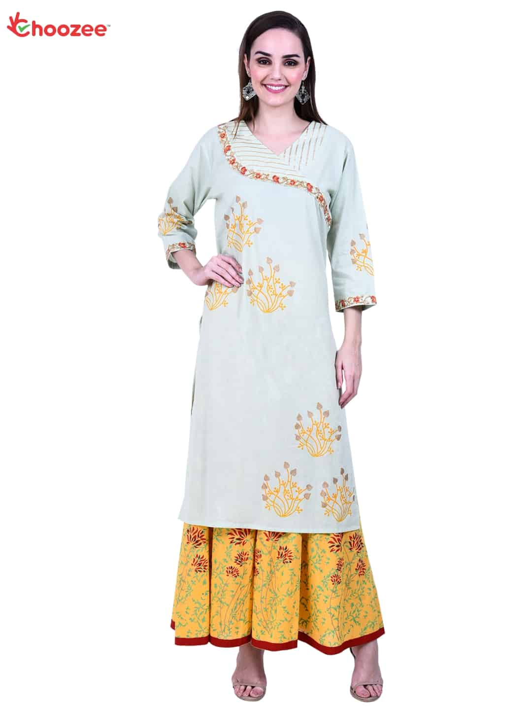 Inspire Embroided Angrakha Kurta with Flared Palazzo