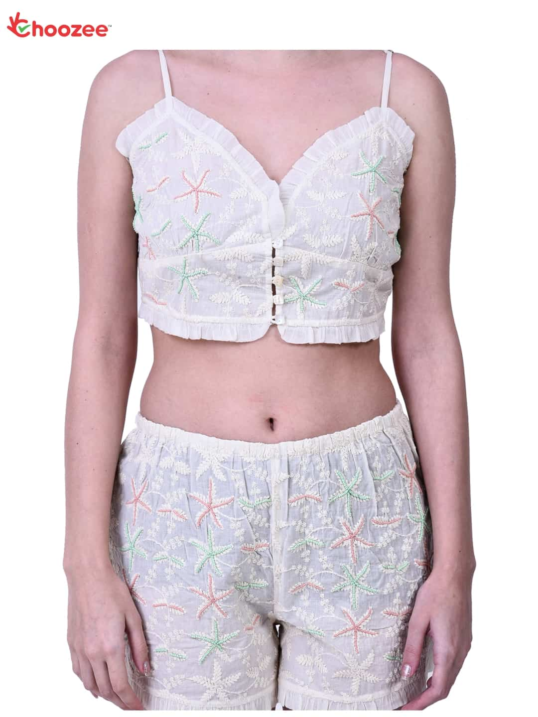 Gorgy Women Blouse & Shorts (with Embroidery)