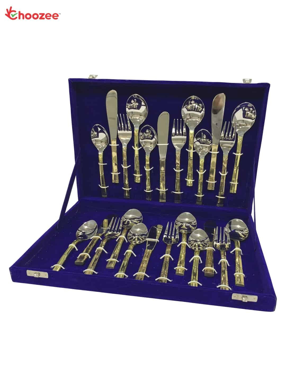 Brass / Stainless Steel Cutlery Set of 24 Pcs in Velvet Set