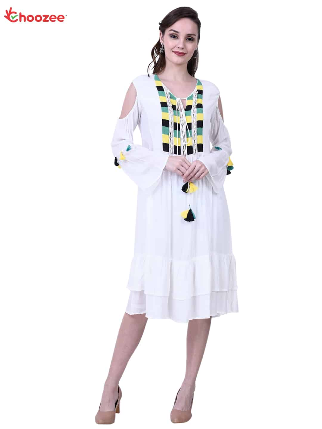 La Bella Women Dress with Embroidery Tassel & Conch