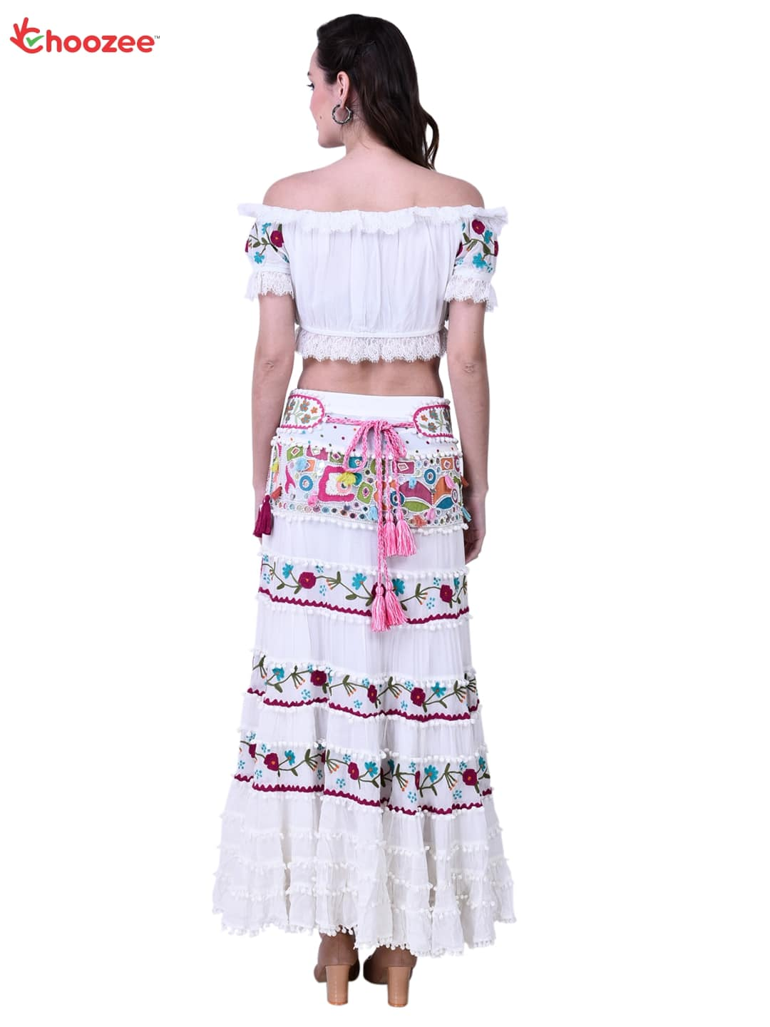 Victoria Crop Top Skirt with Hand Embroidery (Pearl, Mirror & Tassel Work)