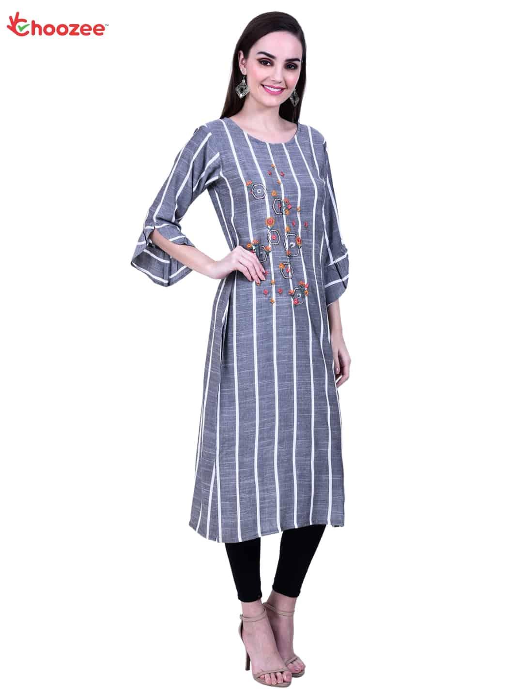Glory Women Embroidery Straight Kurta (Grey)