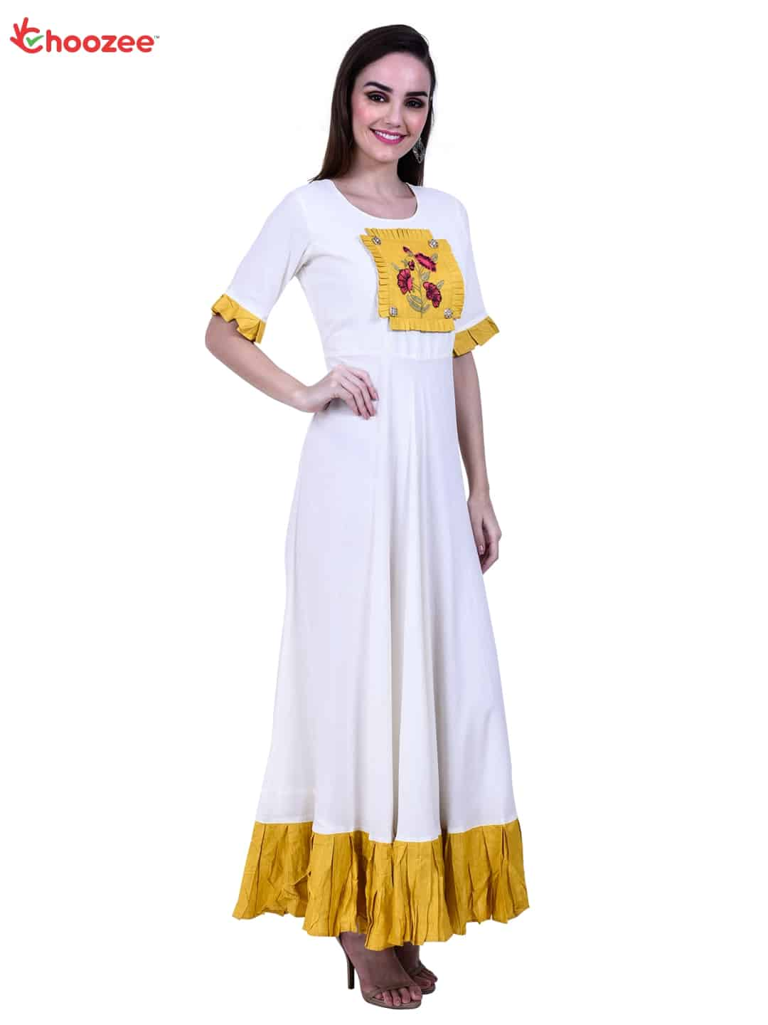 Inspire Women Long Gown with Embroidered Patch