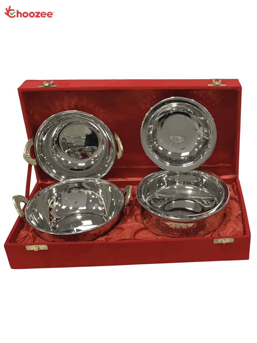 Copper Stainless Steel Handi and Kadhai Set (4 Pcs)