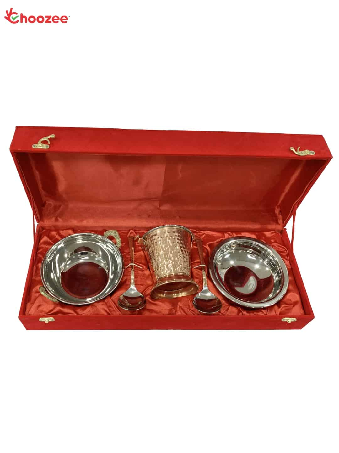 Copper SS Handi, Bucket and Kadhai Set (800 ML) with Serving Spoon Oval