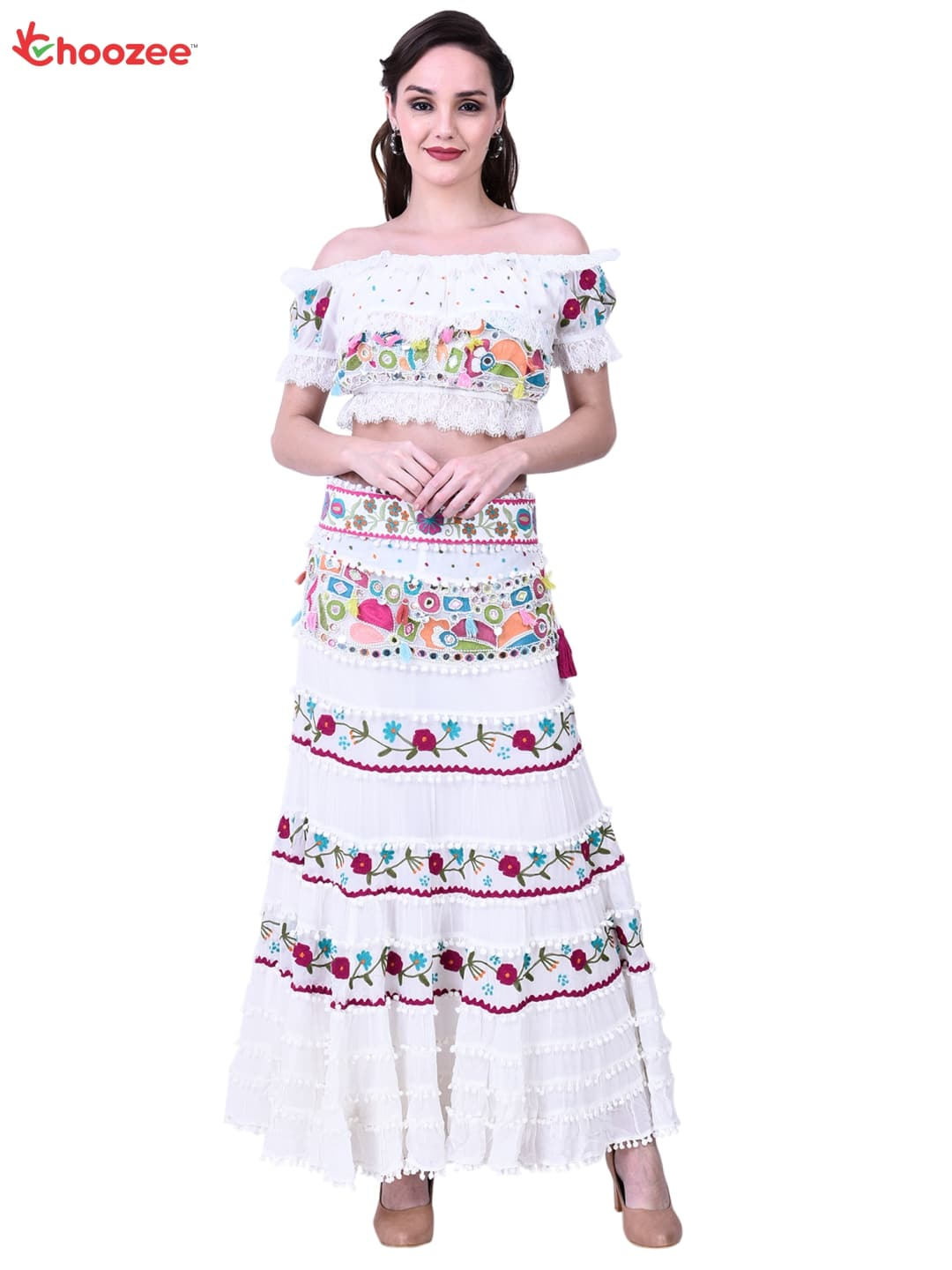 Victoria Skirt Blouse (Lehenga Choli) with Hand Embroidery