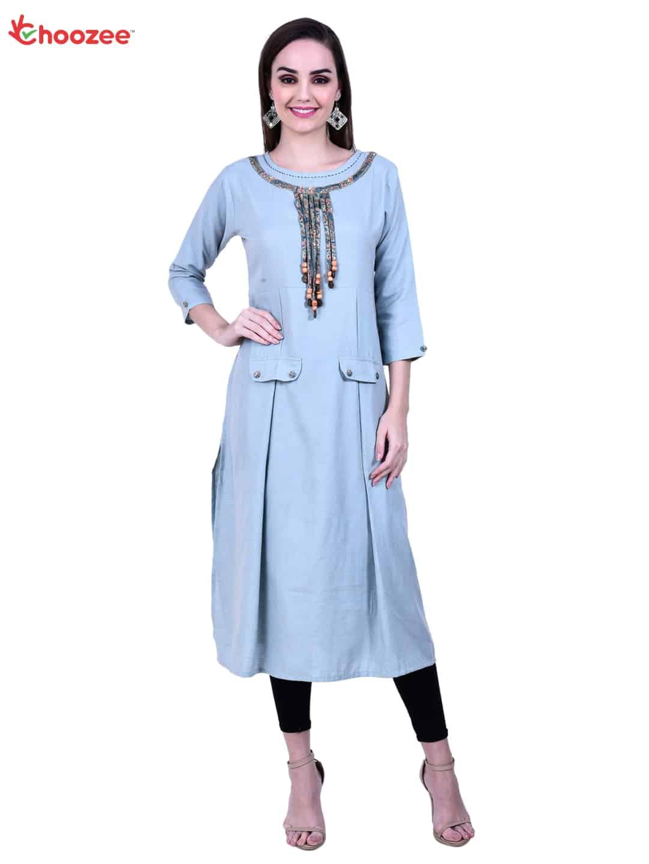 Inspire Women Straight Kurta wih Neck Design